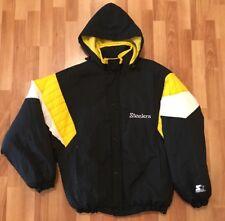 Vtg 80s Starter Pittsburgh Steelers Nfl Mens Black Full Zip Puffy Jacket Sz  M d8edb9f55