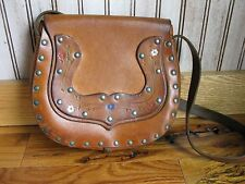 Vintage Handcrafted Thick Leather Handbag Purse Flower Power Boho Hippie GUC
