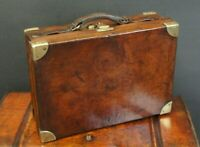Beautiful Quality English Antique Leather & Brass Cartridge Case