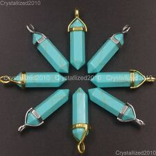 Natural Gemstone Green Turquoise Hexagonal Pointed Healing Pendant Charm Beads