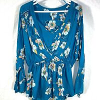 Free People jade green peasant hippie boho floral tunic tie cuffs S