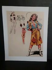 "Cowgirl Western Vintage Style Pin-Up Girl Poster ""Out West"" - 10 x 12 -"