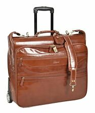 Leather Suit Carrier Dress Garment Travel Weekend Bag on Wheels Chestnut