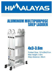 3.6M Aluminium Folding Ladder Step Extension Multi Purpose Platform With Wheel
