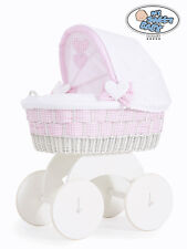My Sweet Baby - Alessandra White Wicker Crib Moses Basket - Pink Check