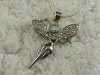 Silvertone Rhinestone Fairy Pendant Necklace  (D50)