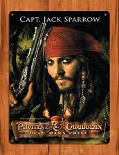 "TIN SIGN ""Captain Jack Sparrow"" Depp Pirates of the Caribbean Disney Decor"