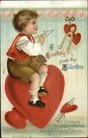 Valentine - Boy Sitting n Heart Holding Arrow - Unsigned Clapsaddle? Postcard