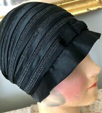 New listing Authentic Vintage 1920's Black Satin & Horsehair Flapper Cloche Hat