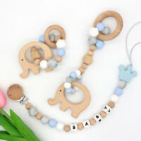 Elephant Beech Silicone Beads Baby Teething Rattle Gym Toy Custom Pacifier Clips