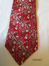 Cromley & Finch London Red Golf Clubs Silk Neck Tie