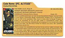 G I JOE File Card Filecard      2009 Spc. Altitude V1