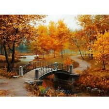 40*30cm Autumn Bridge DIY Digital Drawing Oil Painting By Number On Canvas Craft