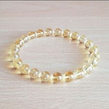 Genuine Citrine Bracelet Gemstone Beads 8mm Solar Chakra Awakening Stretch Fit