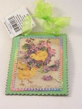 Spring Yellow Chicks Happy Easter Hanging Ornament Card Holiday Decoration
