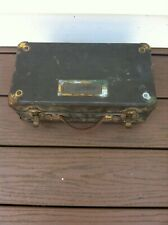 Vintage Military Supply Wood Box with Leather Handle
