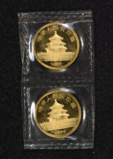 (2) 1986 10 YUAN 1/10 oz CHINA GOLD PANDA COINS *SEALED OMP* LOT#S973
