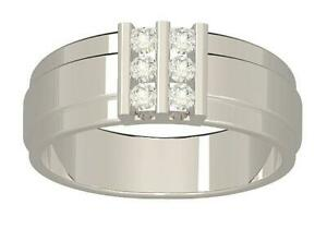 Mens Engagement Natural Diamond Ring 0.40Ct White Yellow Rose Gold Channel Set
