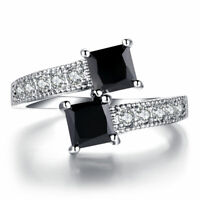 Luxury Starry Star Rings Real 10KGF White Gold Filled Rings For Women Fashion