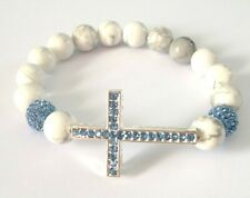 Howlite Bead & Crystal Cross Stretch Bracelet