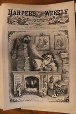 Harpers Weekly Bound Full Year 1871 - Nast Santa Christmas Vintage Ads Engraving