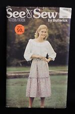 1970s SEE & SEW PATTERN BY BUTTERICK 5951 : MISSES' BOHO TOP & SKIRT SIZE 12-14