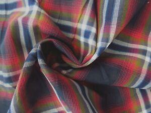 Red, Green, Blue, White, Plaid Yarn-Dyed Cotton Shirting