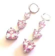 J16 Pink sapphire heart 55mm drop dangle silver earrings (white gold GF) BOXED
