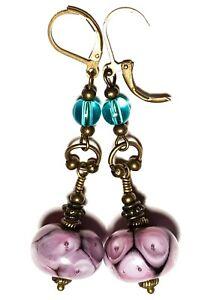 LONG BRONZE PURPLE LEVERBACK EARRINGS turquoise unique vintage gypsy retro style