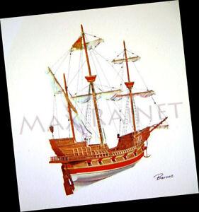 Vintage LITHO ART PRINT Tall sailing ship galleon Spanish carrack by BARONE mini