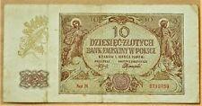 1940 POLAND WW2 ERA ORIGINAL BANKNOTE 10 ZLOTYCH SER.H. COND. VF  WATERMARKS