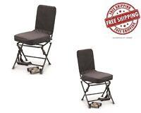 Swivel Hunting Seat Chair Black Powder Coated Tubular Steel Frame Folding Legs