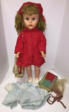 """Vintage Doll Unbranded Blue Sleepy Eyes w/ Outfits, Bag 26"""" Tall Matted Hair"""
