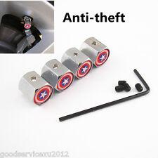 4 X Chrome Captain America Shield Logo Car Wheel Anti-Theft Tyre Air Dust Covers