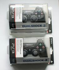 2x OFFICIAL SONY PS3 BLACK DUALSHOCK 3 WIRELESS CONTROLLERS [NEW]