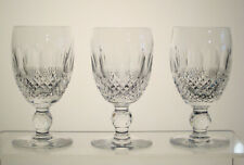 "COLLEEN WATERFORD CRYSTAL White Wine Glasses 4 1/2"" SET of THREE, Excellent"