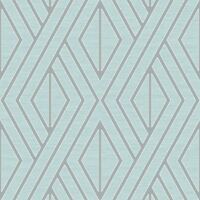 GEOMETRIC WALLPAPER AQUA AND SILVER PEAR TREE UK30512 - FEATURE WALL BLUE NEW