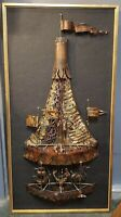 Mid 20th Century Brutalist Hillside Original Carousel Framed Copper Sculpture