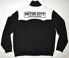 Lucky Brand Black & White Detroit MI Motor City Zip Up Racing Sweatshirt XL COOL