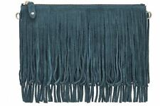 Mighty Purse Fringe X-Body Bag Blue Suede Leather With Cell Phone Charger