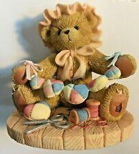Very Rare Cherished Teddies 852783 Zinnia Quilt Thread Scissors Bonnet Mint Nib9