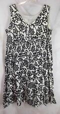 Tweeds Dress Size 22W Black White Floral Cross Over VNeck