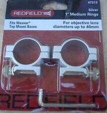 "Redfield Weaver Mounts 1"" Aluminum Riflescope Rings Silver Medium 47313"