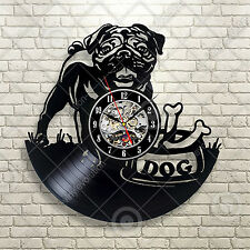 Black Puppy Favorite Pug Personalized Design Vinyl Record Wall Clock Dog Animal