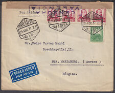 1937 Spain Valencia Censor / Airmail to Belgium