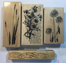 4 Penny Black Floral Rubber Stamps Bundle Wood Mounted
