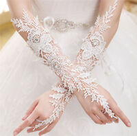 Weiße lange Spitze Perlen Braut Handschuh fingerlose Hochzeit Hand Handschuhe