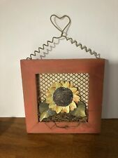 fall decorations Metal Sunflower In Wooden Frame