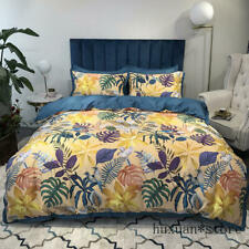 Floral Duvet Cover Queen King 4Pcs Egyptian Cotton Botanical Comforter Cover