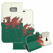 Welsh Flag Design Leather Book Wallet Flip Case Cover For Samsung Galaxy S7 Edge